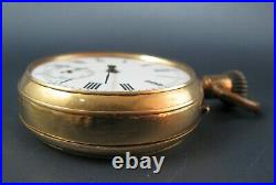 Rare Antique Double Sided Chronograph Pocket Watch In Solid 18k Gold Case AS IS