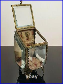 Rare Antique French Bevelled Glass Ormolu Casket Pocket Watch Holder Case. NICE1
