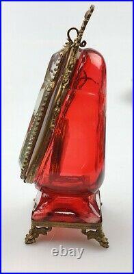 Rare Antique Imperial Desk Men's Pocket Watch Holder Case Brass Red Glass