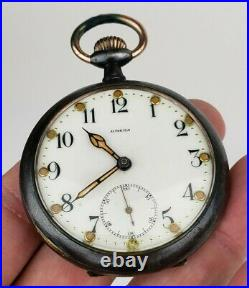 Rare Antique Omega Military Pocket Watch Gun Metal Case Working