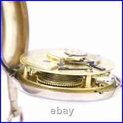 Rare Antique Verge Fusee Pair Case Pocket Watch CA1810s with Diamond Endstones