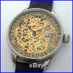 Rare Big ANTIQUE Skeleton OMEGA Swiss Wristwatch in Steel Case