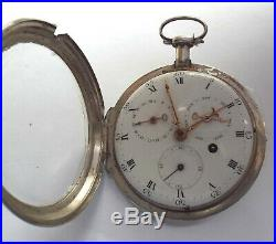 Rare Exceptionally Large Silver Case Watch Verge Fusee Day Date Month Working