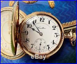 Rare Hamilton 14K Three Color Gold Case with Diamond Pocket Watch 16s Circa 1912