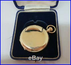 Rare J. W. Benson Solid 9k Gold White Enamel Dial Half Hunter Pocket Watch & Case