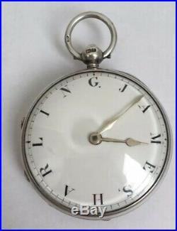 Rare Original Name Dial Verge Fusee Pocket Watch Sterling Silver Case 1790