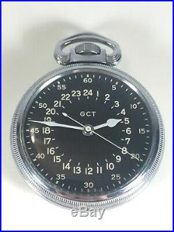 Rare WWII Elgin AN-5740 GCT Navigator Military Army Pocket Watch WithCase, Hamilton