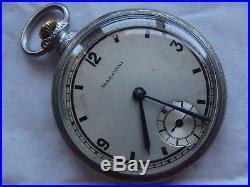 Rolex Marconi pocket watch open face nickel chromiun case 43 mm. In diameter