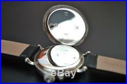 Rolex half hunter trench military antique men's watch solid silver Dennison case