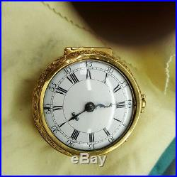 Running good 1710 Verge fusee 22kt. Pair case Repousee` pocket watch