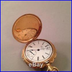 STUNNING 14k Antique Womans Pocket Watch Multicolor Gold Case w Diamond Anna
