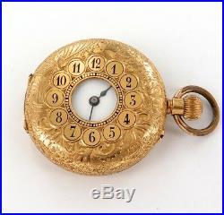 STUNNING LATE 1800s / 18K GOLD CASE / HALF HUNTER SMALL POCKET WATCH