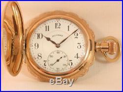 Scarce 17j Illinois Bunn Hunter Gold Antique Pocket Watch Huge Hunting Case