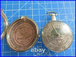 Silver Sun & Moon Champleve Dial Pair Case Watch Verge Fusee Working