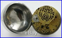 Silver pocket watch, pair cases, sun & moon wandering hour dial, London, c1690