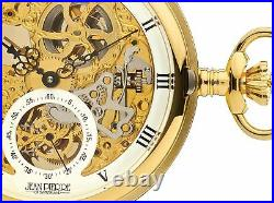 Skeleton Pocket Watch Full Double Hunter 17 Jewelled Mechanical Gold Plated Case