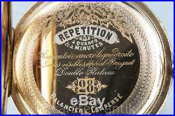 Splendor case SWISS minute repeater hunting cased 18k gold, hand engraved