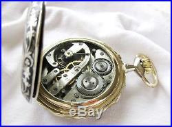 SuperB Swiss huge Goliath Regulateur Pocket watch, Niello case Top, very rare