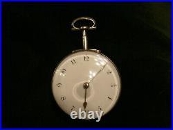 Superb 1798 English Verge Fusee Silver Pair Case Pocket Watch Working