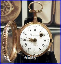 Superb C1770 Solid 18k Tri Color Gold Case Verge Fusee Pocket Watch Working