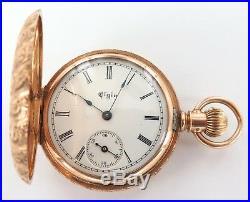 Superb Case / 14k Gold 1893 Elgin 0s 7j Ladies Pocket Watch