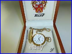 Swiss Mathey Tissot Mechanical Wind Up Pocket Watch With Original Wooden Case