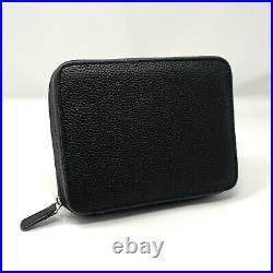 Swiss Time Genuine Black Leather Four Watch Travel Storage Pouch Case Box