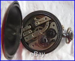 Triple Date & Moon Phase Pocket watch open face gun case 50,5 mm. In diameter