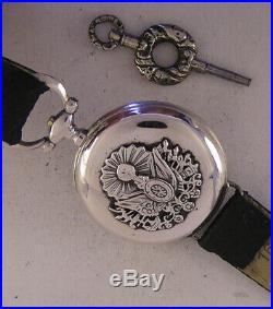 UNIQUE CASE ALL ORIGINAL 1870 French MILITARY Oriental AWARD SILVER Wrist Watch
