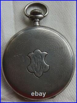 U. Nardin Pocket Watch silver hunter case 50 mm. In diameter balance Ok