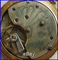 Ulysse Nardin Pocket Watch Key Wind 18K solid gold hunter case enamel dial