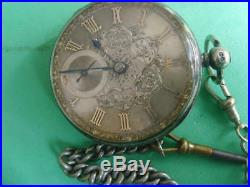 VERGE FUSEE WORKING STERLING SILVER CASE/DIAL Fancy Gold POCKET WATCH