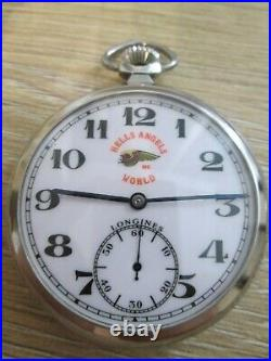 VINTAGE LONGINES HELLS ANGELS MC DIAL AND CASE pocket WATCH cal. 37.9 swiss MADE