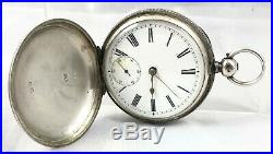 Victorian Waltham Sterling Silver Cased Full Hunter Pocket Watch Birm 1884