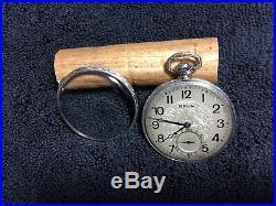 Vintage 12s Ball-Illinois Pocket Watch 19j white gold filled case