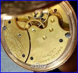 Vintage 14K Yellow Gold American Waltham Pocket Watch Seaside Hunter case