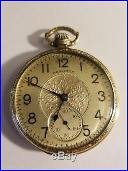 Vintage 1938 Hamilton 912 14k Green Gold Fancy Case Filled Pocket Watch Runs