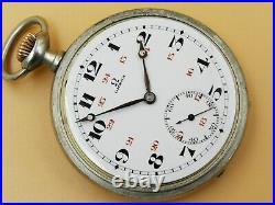 Vintage ANTIQUE OMEGA POCKET WATCH OPEN FACE ENAMEL DIAL Circa 1920`s 51mm case