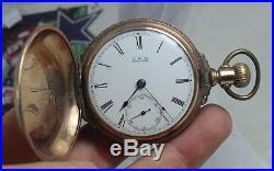 Vintage American Waltham Gf Hunting Case Pocket Watch Circa 1800s Works
