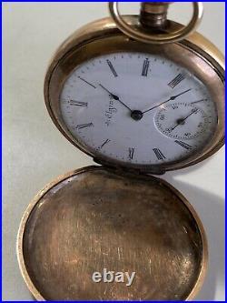 Vintage Antigue Bird Engraved Gold Plate Hunter Case Old Pocket Watch Elgin
