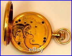 Vintage Fancy Elgin 14K Solid Yellow Gold 39mm Hunter Case Pocket-Watch 56 Grams