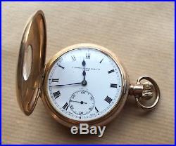 Vintage Gold Plated Half Hunter Pocket Watch 1930's Working Order Cased