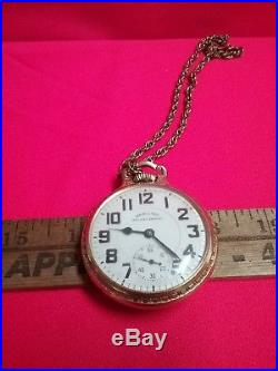Vintage HAMILTON RAILWAY SPECIAL gold pocket watch open case railroad works 21j