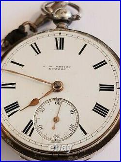 Vintage J W Benson Solid Silver Cased Pocket Watch