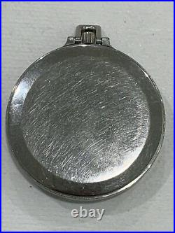 Vintage Jaeger LeCoultre Swiss Staybrite Steel Cased Pocket Watch with Day & Date