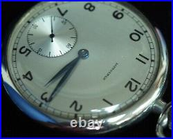 Vintage Longines Pocket Watch 16S Open Face Steel Case Running, Immaculate