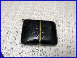 Vintage Movado Automatic Ermeto Travel/Pocket/Purse Alarm Watch WithAlligator Case