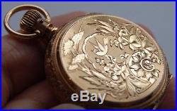 Vintage P/W 14K SOLID GOLD DRUM STYLE ORIGINAL DUEBER HUNTER CASE GRO