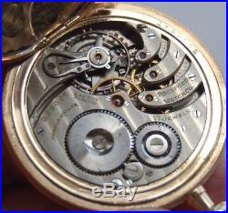 Vintage Rockford Pocket Watch ORIGINAL HUNTER CASE Pink Enamel Fancy Dial