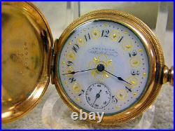 Vintage Waltham Zero size GORGEOUS Hunter Case, Fancy M/C dial, All Orig in box